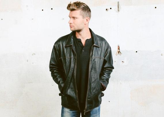 Veste Vintage En Noir Cuir Zip Jacket Vol Etsy Bomber qHrq0a