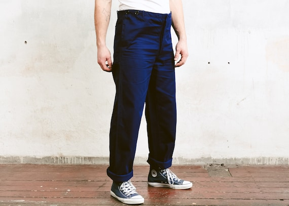 Mens Vintage Work Pants . Indigo Blue Ankle Pants