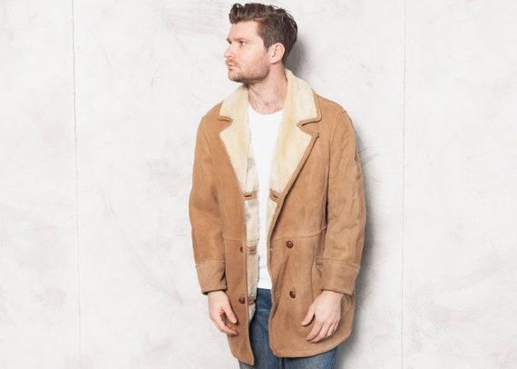 Shearling Coat 1970s Men Vintage Sheepskin Coat Lo