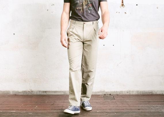 Vintage Green Chino Pants . Men 90s Ankle Pants Co