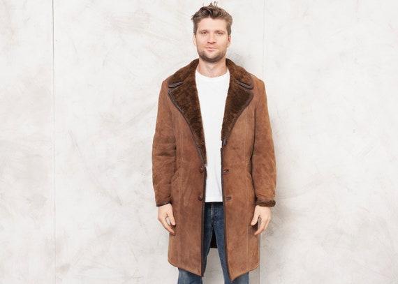 Brown Shearling Coat Men Vintage 70s Winter Coat S