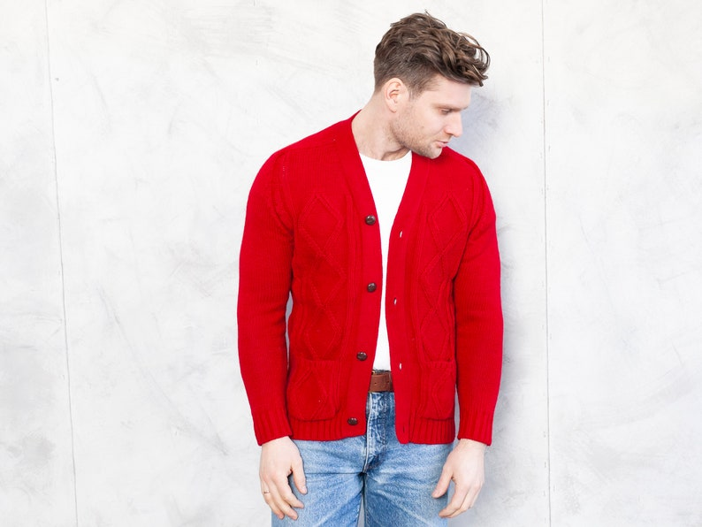 Red Men Cardigan 70s vintage cozy cardigan button up sweater retro casual winter cardigan free fit cardigan casual wear size xs extra small