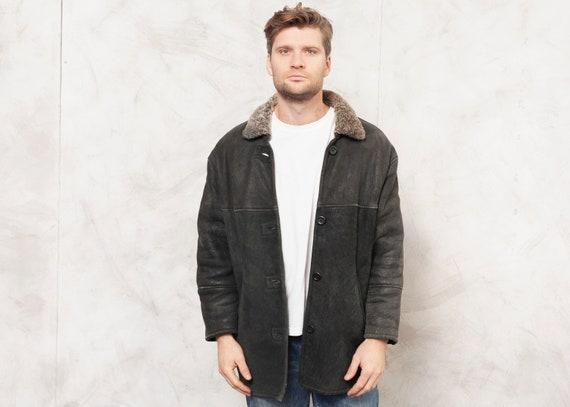 Original Shearling Jacket Vintage 80's Suede Coat