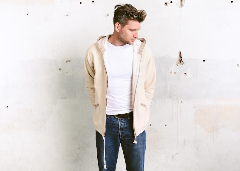size Medium M Beige Hippie Hoodie Men/'s Hooded Sweater Vintage Sweater Zip Up Hoodie Spring Jacket Vintage Men Hoodie Jacket
