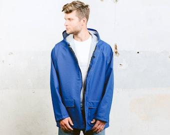 Vintage Rain Jacket . 80s Windbreaker Jacket Festival Coat Outerwear Mens Coat Bold Blue Hooded Sports Activewear . size Extra Large