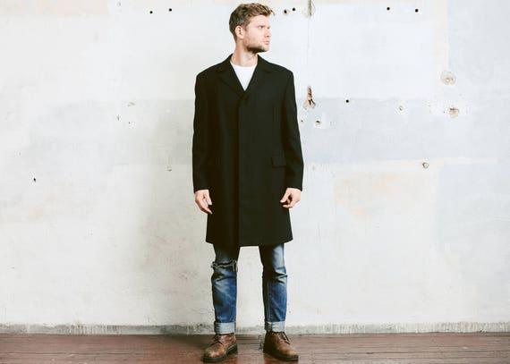 Mens Black WOOL COAT . Vintage Pea Coat Luxurious