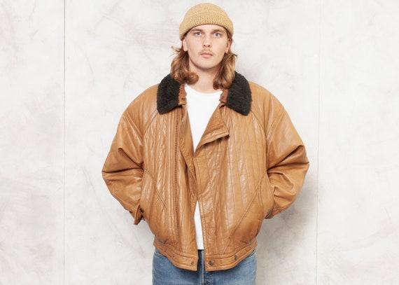 Brown Leather Jacket Bomber Men Vintage 80s Fligh… - image 1