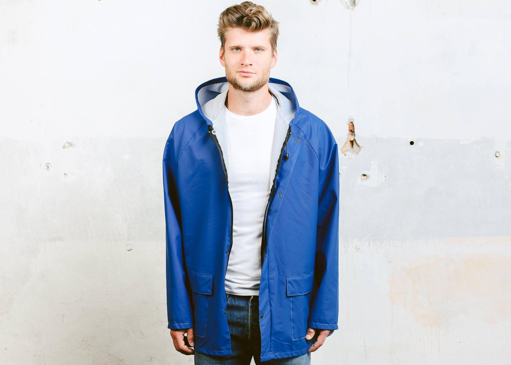 dd3dc862f Vintage Rain Jacket . 80s Windbreaker Jacket Festival Coat Outerwear Mens  Coat Bold Blue Hooded Sports Activewear . size Extra Large