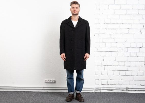 Black Wool Coat Vintage 1970s Overcoat Black Jacke