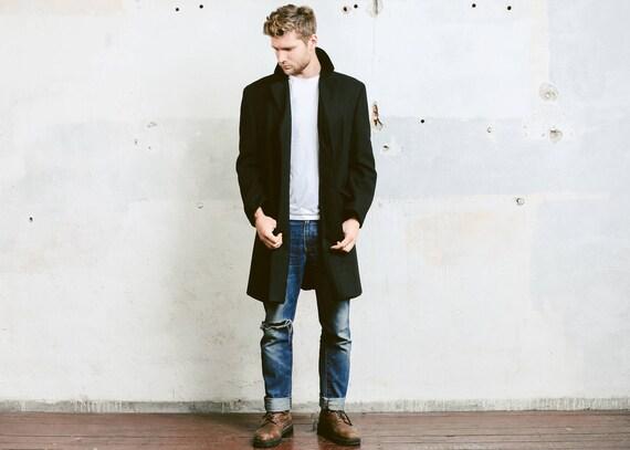 Mens Black WOOL COAT . Vintage Pea Coat Luxurious… - image 2