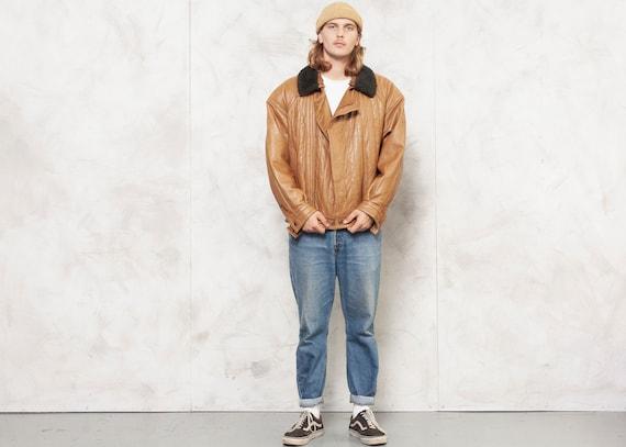 Brown Leather Jacket Bomber Men Vintage 80s Fligh… - image 3