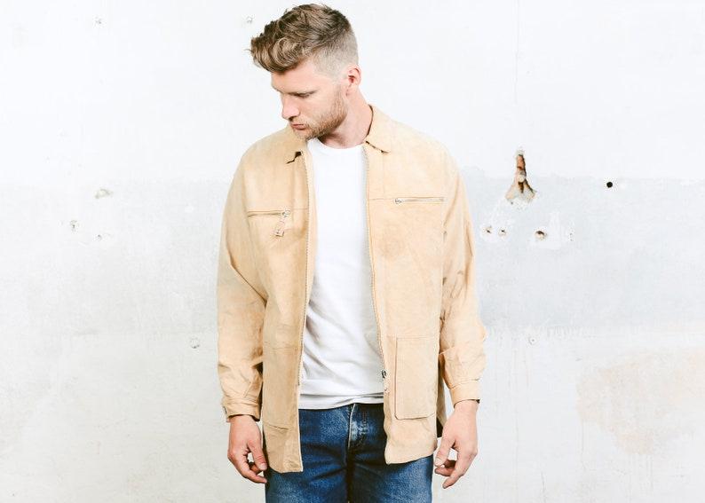 90a0bdd6c Beige Men Suede Jacket . Leather Suede Zip Up Jacket Mens Western Coat  1980s Outerwear 80s Spring Jacket . size Medium M