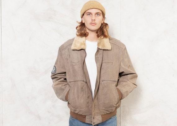 Men Aviator Jacket Leather Vintage 90s Flight Jack