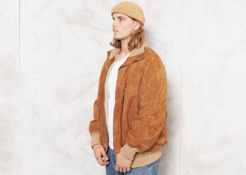 fur lined 70s bomber coat vintage 70s  suede jacket gray   suede  bomber baseball jacket sm med