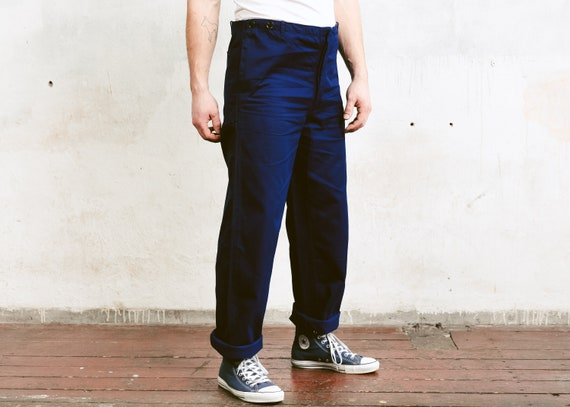 Men 80s Work Pants . Vintage Navy Blue Men Ankle P