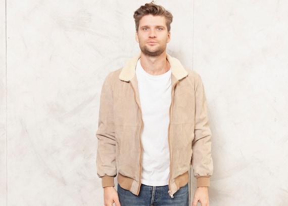 80s Suede Jacket Vintage Faux Sheepskin 1980s Men
