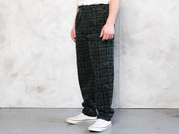 Plaid Corduroy Pants vintage 80s dark green cord … - image 3