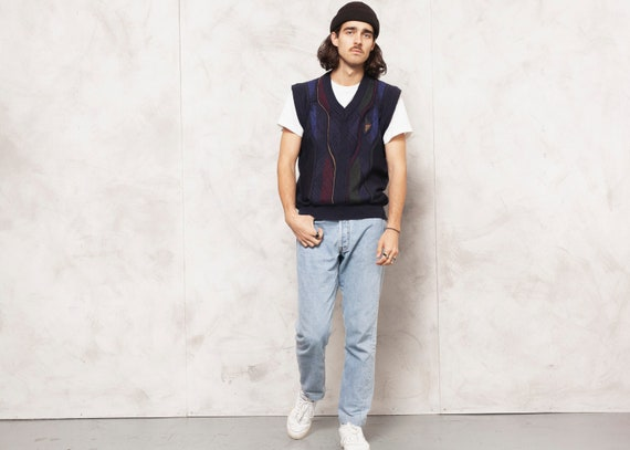 Preppy Wool Vest Mens Vintage 80s Wool Knit Vest M