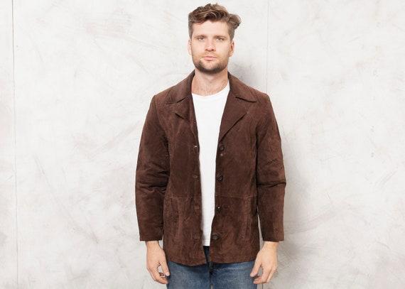 Brown Suede Jacket Vintage Men Suede Jacket Dark B