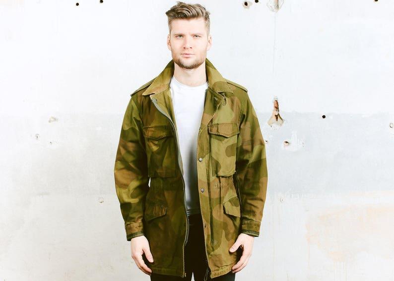 ea518eb81938e Vintage CAMOUFLAGE Jacket . Retro 90s Mens KHAKI Military Camo | Etsy