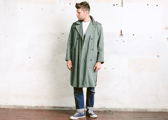better price world-wide renown buying new Vintage Green Trench Coat . Men's Topcoat Rain Coat Mac Coat Duster Coat  1980s Long Jacket Insulated Outerwear . size 44 Medium M