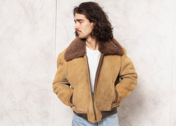Sheepskin Aviator Jacket Vintage Shearling Jacket