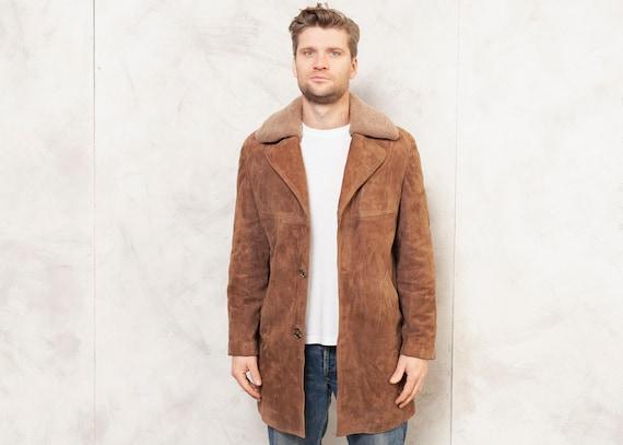 70's Suede Coat Brown Shearling Coat Men 70's Shee