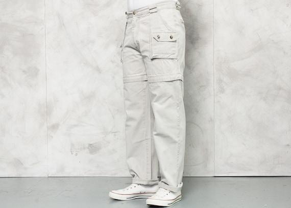 Vintage Men Cargo Pants . 90s Men Beige Utility P… - image 2