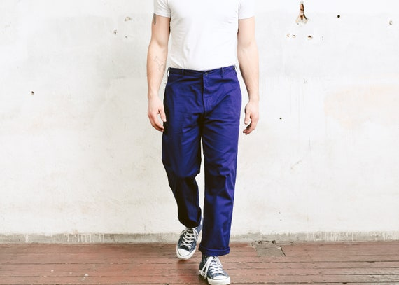 Vintage Men Chore Pants . Ink Blue 80s Work Pants