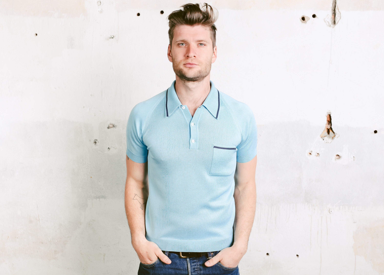 76b6aff8e 70s Men s Polo Shirt . Vintage Blue Sports Top Bowling Shirt Golf Tennis  Slim Fit T-shirt Short Sleeve Shirt . size Small S