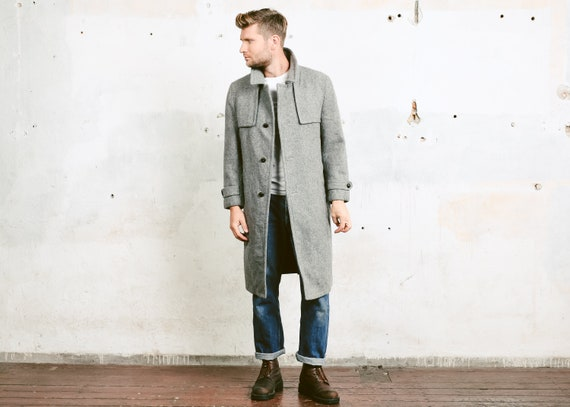 Grey Pure New Wool Coat . Vintage Men Winter Coat