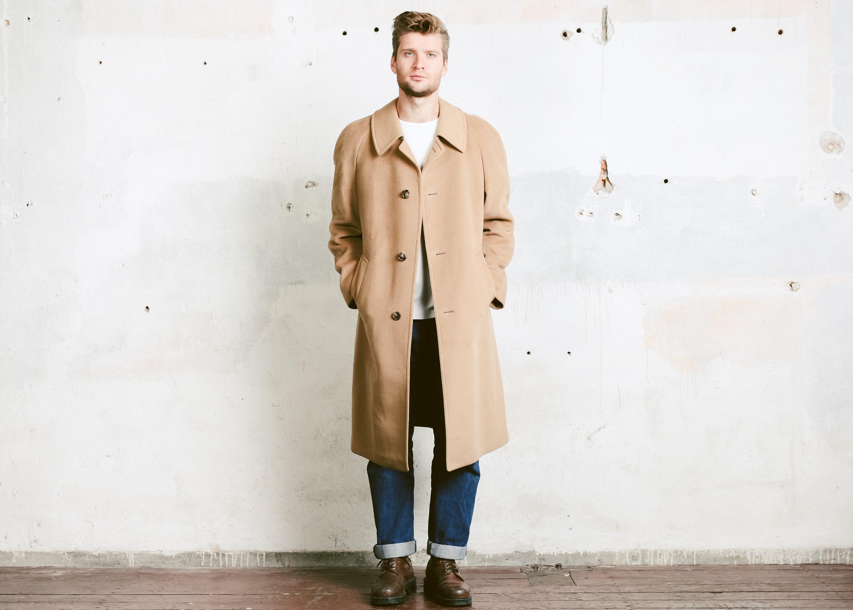 c14a389240ac Mens Beige Wool Coat . Vintage 70s Camelhair Overcoat Camel | Etsy