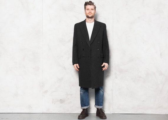Grey Wool Coat Vintage 70's Overcoat Men Mac Coat