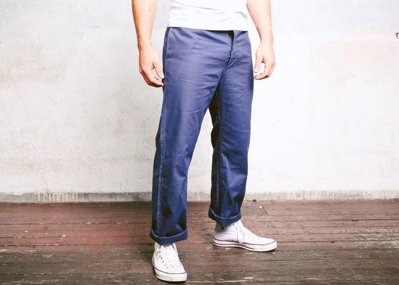 Navy Blue Work Pants . Vintage 80s Men Ankle Pants
