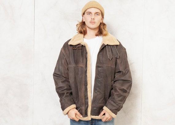 Aviator Leather Jacket Vintage 90s Sherpa Flight J