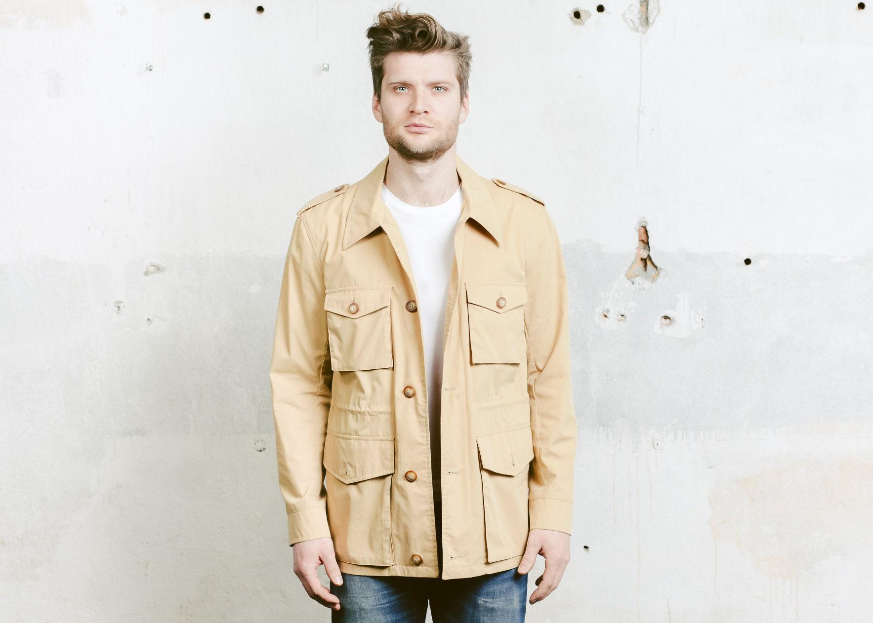 70 s veste Parka Manteau légère. Manteau Parka court beige Vintage des années 1970 champ manteau veste marron vêtements cadeau petit ami. taille moyenne M fd4780