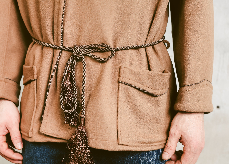 Men Smoking Jacket Vintage 70s Morning Robe Beige Woolen Robe Hugh Hefner Style Jacket Short Wool Cigar Robe Blazer Size Medium M