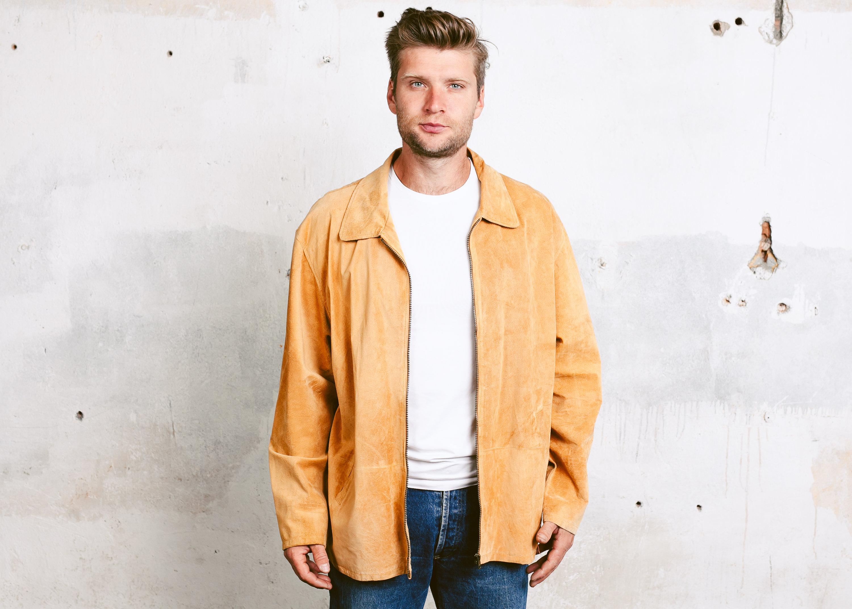 size Large L Men Leather Jacket Vintage Suede Leather Blazer 80s Jacket Mens Brown Outerwear Vintage Bomber Jacket Outerwear