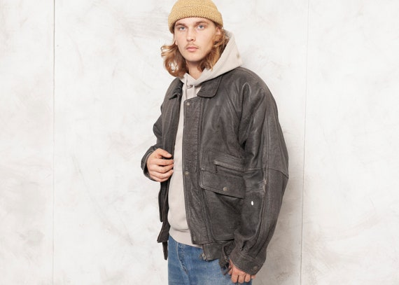 Grey Leather Jacket Men Vintage 90s Oversized Men… - image 2