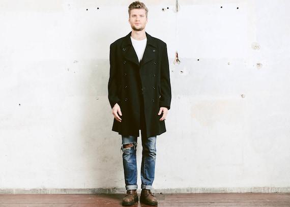 a445bc2a303d Männer-Mantel. Vintage Wolle Wintermantel 80er Jahre schwarzen   Etsy
