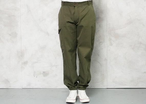 Vintage Men Military Trousers . 90s Men Army Pants
