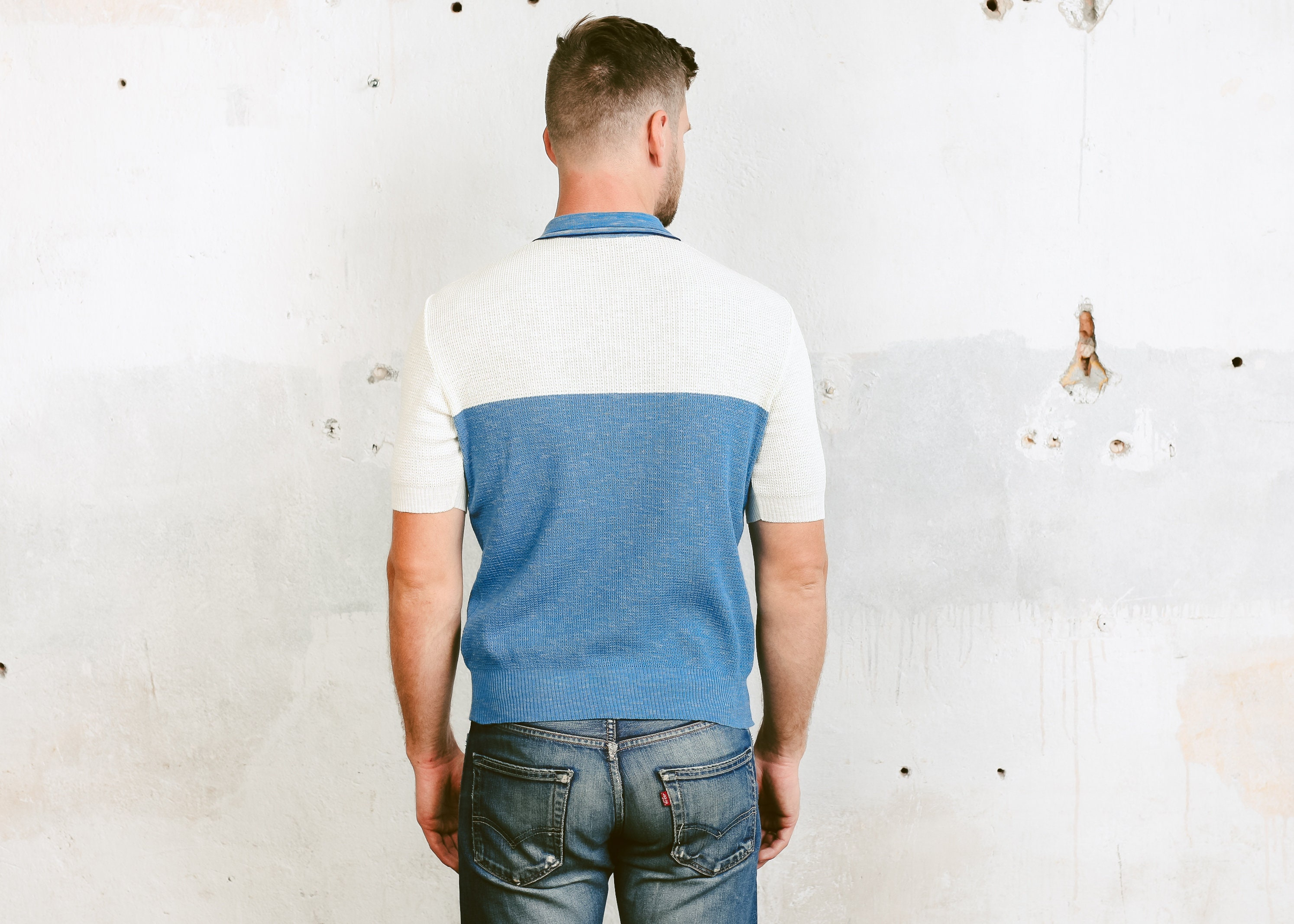 1bd797e62 Vintage 70s Mens Polo Shirt . Blue White Retro Sports Top Bowling Shirt  Golf Tennis Rockabilly Mesh T-shirt Short Sleeve Shirt . size Medium