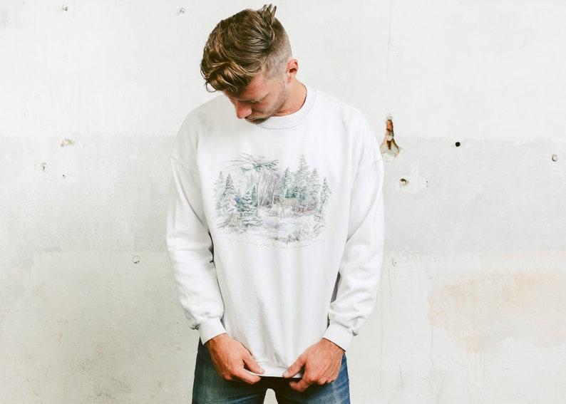 8c8e01698a9d Graphic Print Sweatshirt . Vintage 90s Crew Neck Sweater Men White Retro  Oversiz... Graphic Print Sweatshirt . Vintage 90s Crew Neck Sweater Men  White Retro ...