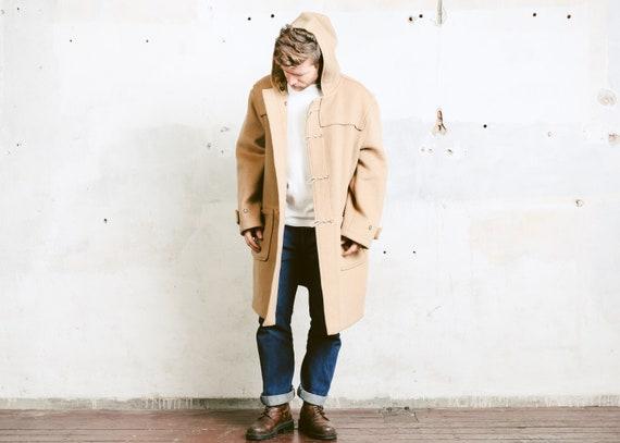 dc74e74830a1 GLOVERALL Wool Duffle Coat . Hooded Beige Coat Men's | Etsy