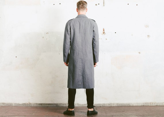 MILITARY Grey Large Wool size Overcoat 1970s Coat Swedish 60s Double Military GREATCOAT Army Jacket Mens Officers Breasted qxApw14Utx