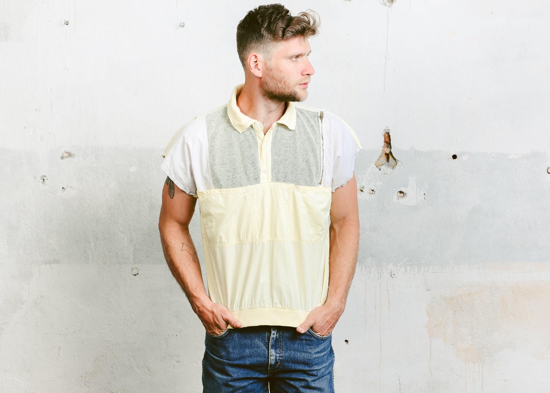 53ac0c998 90s Men Polo Shirt . Vintage Normcore Shirt Golf Tennis T-shirt Short  Sleeve Shirt Yellow Shirt Hipster Outfit . size Large