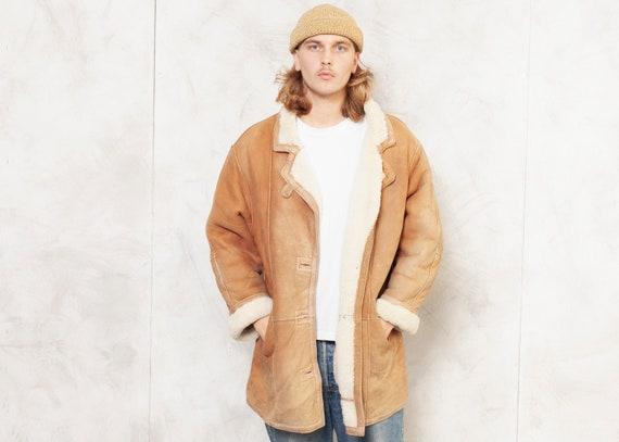 Sheepskin Shearling Coat Vintage 70s Winter Coat M