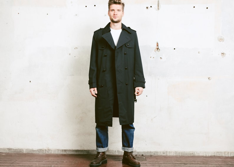 9619033f86500 Black Vintage Trench Coat . Mens Detective Coat 70s Coat Film
