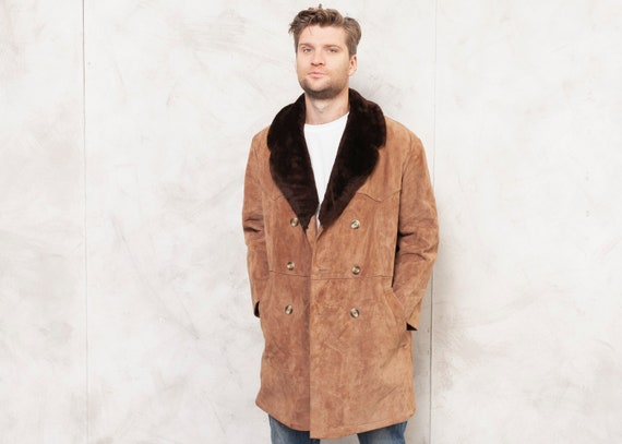 Winter Suede Overcoat Vintage 80s Men Casual Coat