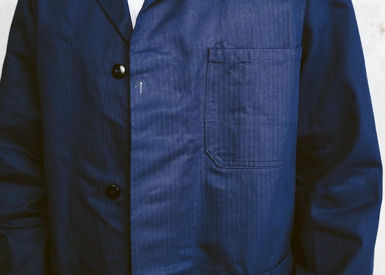 Men Chore Coat Vintage 80s Navy Blue Work Coat Men Workwear Mechanic Jacket Artist Coat Warehouse Coat size Large
